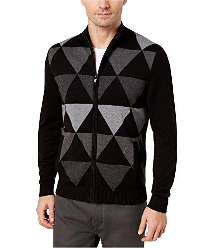Alfani Mens Printed Long Sleeves Cardigan Sweater Black L