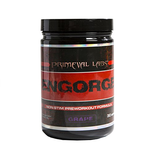 Primeval Labs Engorge - Non Stimulating Pre-Workout Formula - Utilizes Citrulline Malate for Energy, Strength, and Endurance - Also Supports Cognitive Function, Cell Growth, and Recovery - Grape