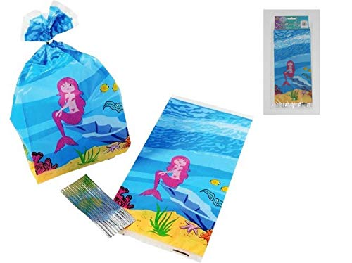 Mermaid Party Treat Bags with Twist Ties (Pack of 24) | Mermaid Cellophane Bags, Gifts for Kids Birthday, Baby Shower, Under The Sea Mermaid Party Supplies (Best Loot Bag Ideas)