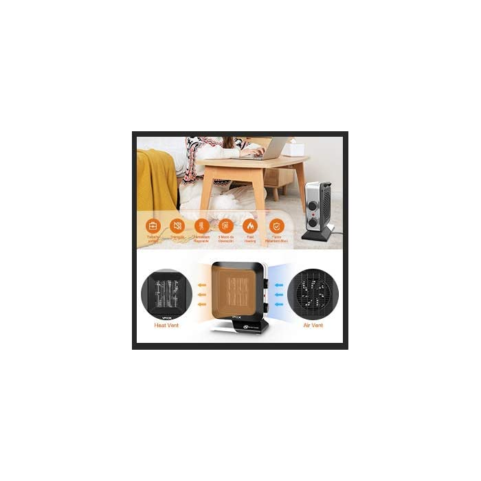 41Iui1KFnBL 1,Red densa exquisita mejorada. El calefactor ceramico bajo consumo VPCOK ha creado recientemente una red densa exquisita mejorada. Cuando la temperatura sube al máximo, la red densa no se enrojecerá ni se calienta; un termostato incorporado, una vez que la temperatura alcanza su nivel, la calefactor de aire caliente de funcionar automáticamente a la temperatura establecida. 2,Mango portátil. La manija portátil está ubicada en la parte posterior del calefactor bajo consumo baño, por lo que es conveniente moverlo a cualquier lugar que desee, como escritorios, oficinas, dormitorios, etc., grandes salidas de aire y ventilaciones de enfriamiento para garantizar la eficiencia de la calefacción; hermosa apariencia en cada esquina. Son suaves y protegen cualquier parte de tu cuerpo. 3,Tres modos. Interruptor en espiral, puede elegir entre tres modos, puede elegir soplar solo sin calor, baja salida de calor (700W (estándar europeo)) o alta salida de calor (1400W (estándar europeo)), durante todo el año. La sensación más cómoda, fácil de girar el interruptor, estará en su lugar con un giro, operación simple y cambio conveniente.