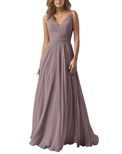 - Yilis Double V Neck Elegant Long Bridesmaid Dress Chiffon Wedding Evening Dress Plum US8