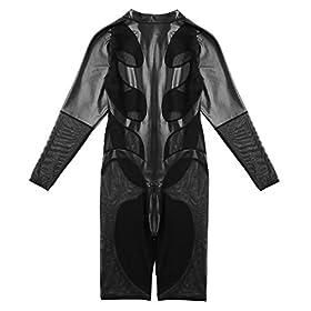 - 41IuiWBzslL - iEFiEL Men's Faux Leather and Mesh Splice Long Sleeve Zipper Catsuit Zentai Bodysuit Unitard