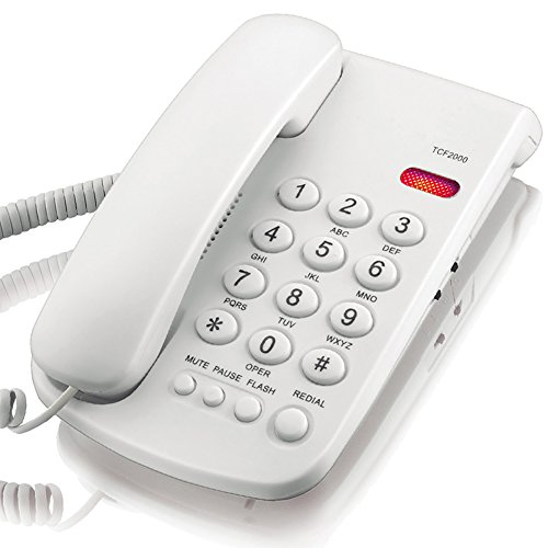 (KerLiTar K-P041 Basic Corded Phone with Redial Mute Function Landline Telephone(White) )