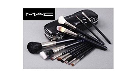 MAC 12 pcs Professional Cosmetic Makeup Brushes Set with Pu Leather Cover MAC COMPANY T-76