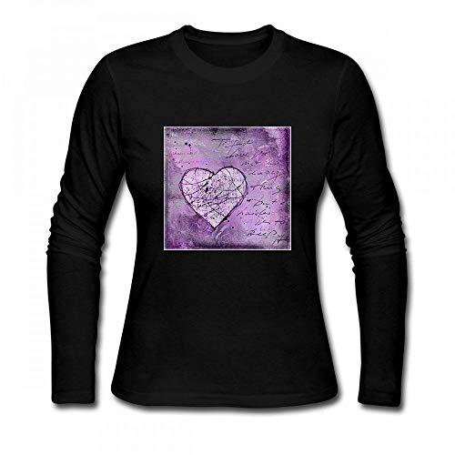 (Love and Hearts Art Painted Heart Women Long Sleeve T-Shirt Black)