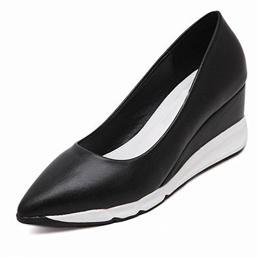 del Zapatos Puntea Plataforma Gruesos Europea la Zapatos de Talones 38 Femeninos de la Los de Primavera Pie Plataforma Altos Dedo Los la Zapatos Los Los de con el CXY Negro 7ZqnPH8q
