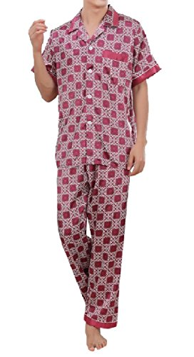 (SportsX Mens Charmeuse Printed Two Piece Long Pants Short-Sleeve Sleepwear Set Pattern7 XL)