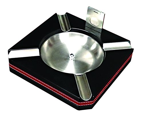 Prestige Import Group - Leather Motif Trim Cigar Ashtray with Cutter - Color: Black - Ashtray Trim