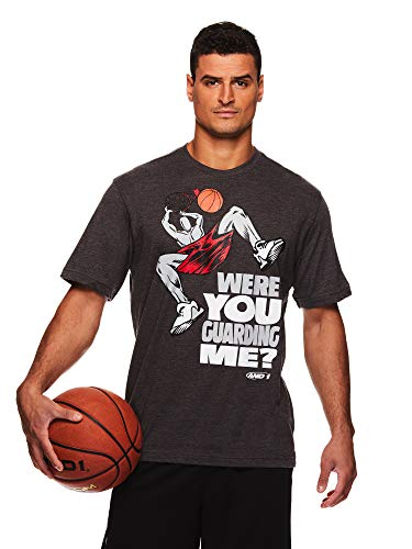(AND1 Men's Graphic Basketball Tee - Short Sleeve Gym & Training Activewear T Shirt - Dunk Charcoal Heather, Medium)