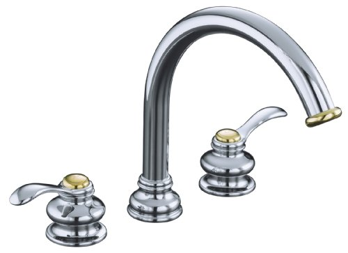 KOHLER K-T12885-4-CB Fairfax Deck-Mount Bath Faucet Trim, Polished Chrome with Vibrant Polished Brass Accents