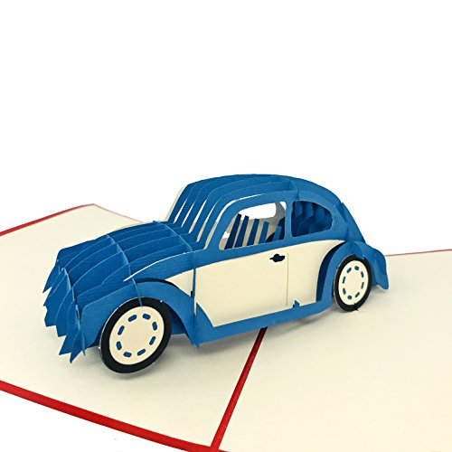 Classic Car - WOW 3D Pop Up Greeting Card for All Occasions - Birthday, Congratulations, Good Luck, Anniversary, Get Well, 4th July, Military, Army
