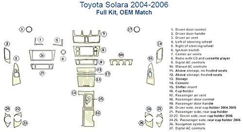 (Toyota Solara Full Dash Trim Kit, OEM Match - Japanese Cherry Wood )