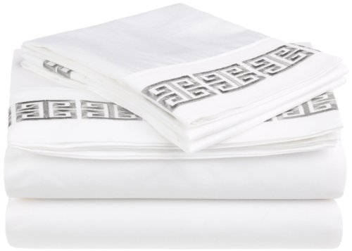 100% Cotton Greek Key Embroidery, 4-Piece Queen Kendell Bed Sheet Set, White/ Grey ()