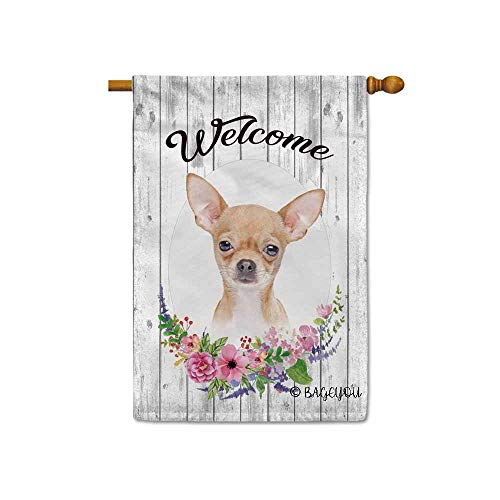 BAGEYOU Welcome Spring Summer Flowers Cute Dog Chihuahua Decorative House Flag Lovely Puppy Floral Seasonal Home Decor Banner for Ourside 28X40 Inch Print Double Sided