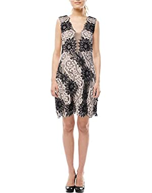 BCBG Max Azria Womens Lynne Lace Mesh Inset Cocktail Dress