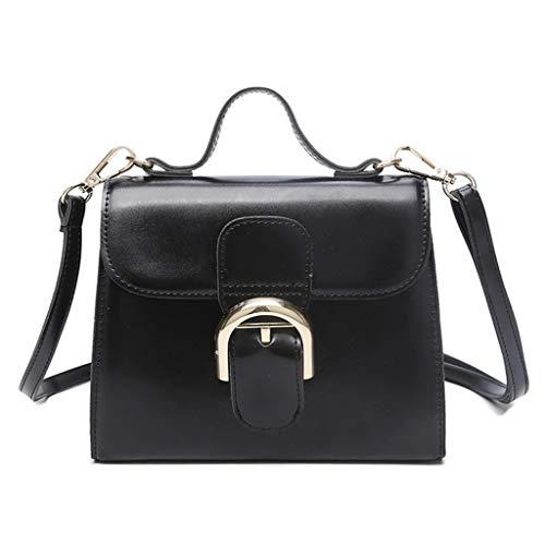 La Moda Sólido Black Cuadrado Con Un Simple Bolso Color Para Mensajero Hebilla De Mujer Hombro A wxHTnO6t