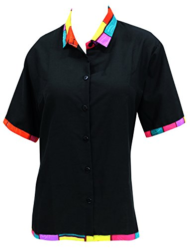 (LA LEELA Rayon Hawaiian Blouse Women Wedding Shirt Black 506|L - US 38 - 40D)