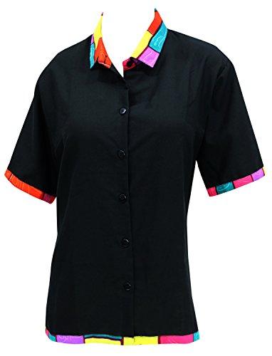 LA LEELA Rayon Hawaiian Blouse Women Wedding Shirt Black 506|L - US 38 - 40D