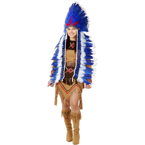 Blue & White Indian Headdress with Trailer (Indian Chief Headdress For Sale)