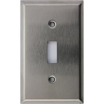 brushed satin stainless steel single gang toggle switch wall plate