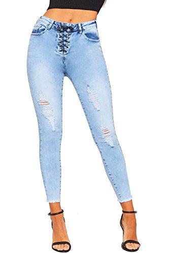 Jambe Dames De Cheville Jean Femmes Clair En Maigre Haut WearAll Dchirs Toile Afflig 42 Jeans Dentelle Stonewashed Bleu 34 vwRCqO