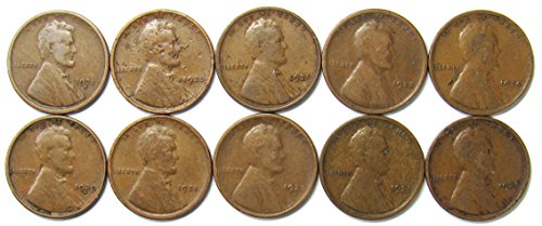 1921 Mint (1920-1929 Lot of 10 Wheat Cents - Different Dates/Mint Marks/Grades)