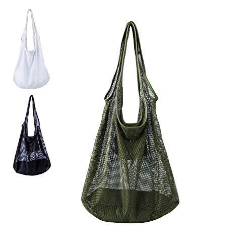 Fashion Mesh Tote Bag for Women, Mesh Beach Bags Casual Shoulder Purse Versatile Handbags - Lightweight, Large Capacity, Zipper Pouch - Perfect for Summer Travel, Shopping, Picnic and Daily Life ()