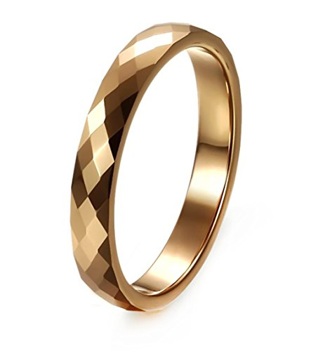Women's 3MM Tungsten Comfort Fit Wedding Band Ring Multi Faceted High Polish, Size 8 3mm Faceted Comfort Ring Band
