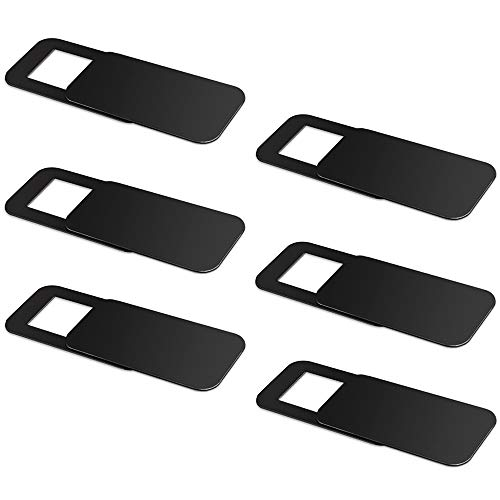 6 Pack Webcam Cover, Pandawill Web Camera Cover Slide rotecting Privacy and Securtiy, Strong Adhensive for Laptop, Desktop, PC, Macboook Pro, iMac, Mac Mini, Computer, Smartphone (Black) …