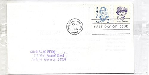 - 1988 First Day Cover (FDC) 2 Cent Mary Lyon And 23 Cent Mary Cassatt US Postage Stamps