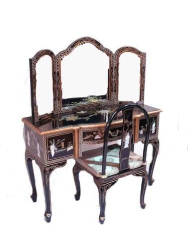 Black Lacquered Oriental Furniture With Mother Of Pearl Dressing Table