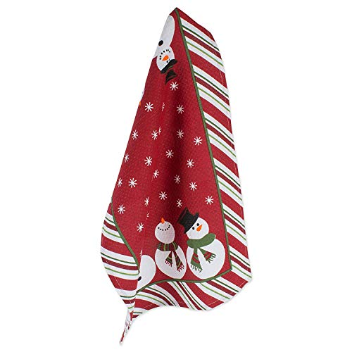 DII Cotton Christmas Holiday Waffle Dish Towels, 18x28 Set of 2, Decorative Oversized Kitchen Towels,  Perfect Home and Kitchen Gift-Snowman