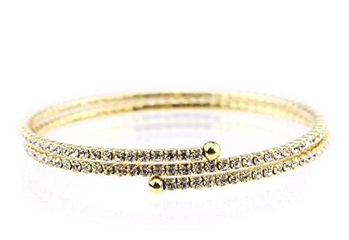 - Women's 2 Row Swarovski Crystal Stud Flex Wrap Bracelet, Clear/Gold-Tone