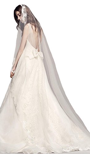 Passat Diamond White Single-Tier 3M Cathedral Scalloped Lace Edge veil bridal DB83 by Passat