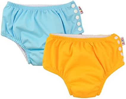 ALVABABY Swim Diapers Reuseable Washable & Adjustable for Boys and Girls S M & L size 2 PCS