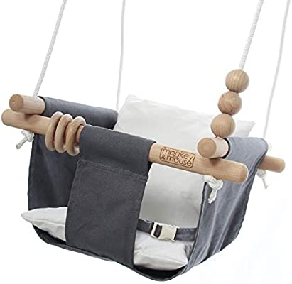 Monkey Mouse Secure Canvas And Wooden Hanging Swing Seat Chair With A Baby Infant Toddler Kids Toys Portable Indoor And Outdoor Hammock For Porch Tree Swings Outside Swing Set Use