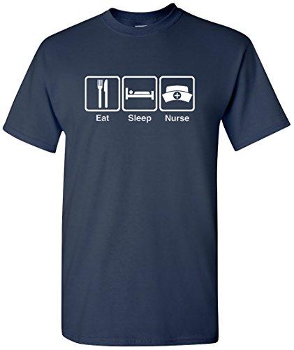 EatSleepTee Men's Eat Sleep Nurse T-Shirt X-Large Navy