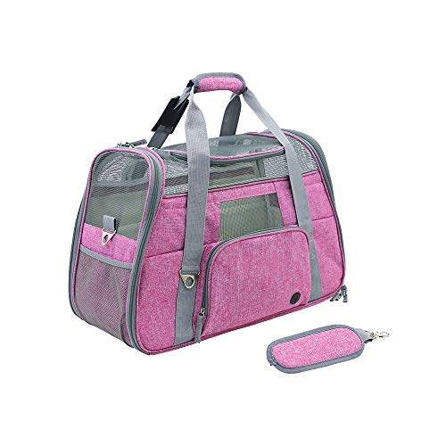 Pet Bag Travel Portable Breathable cat and Dog Supplies Portable take-Away Shoulder Diagonal (Color : Rose red)