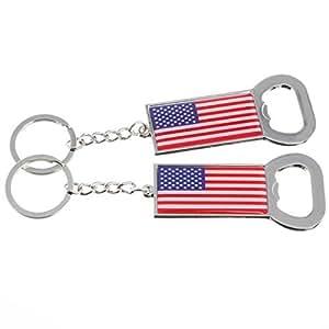 2x american flag bottle opener metal keychain usa souvenir set of 2 kitchen dining. Black Bedroom Furniture Sets. Home Design Ideas