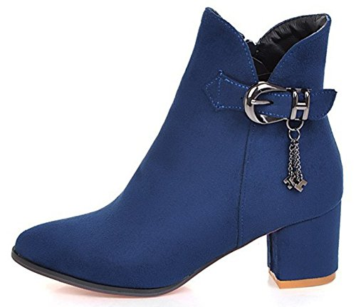 IDIFU Womens Fashion Faux Suede Pendant Zip Up Pointed Toe Mid Chunky Heel Ankle Boots Blue INrKsTqmih