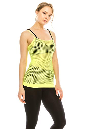 Basic Seamless Long Camisole Tanktop by Shycloset - Soft Stretch Long Spaghetti Strap One Size Made in USA (Cami Net - Neon Yellow)