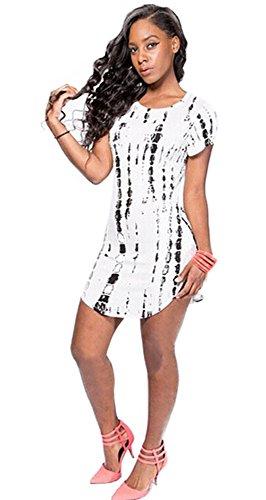 Women Short Sleeve Scoop Neck T-shirt Mini Dress with Black Tie Dye Pattern