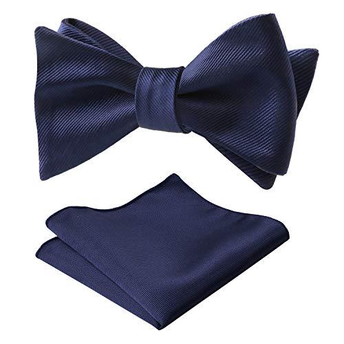 Alizeal Men's Solid Self-Tied Bow Tie and Handkerchief Set, Dark Navy (Bow Tie Navy Silk)