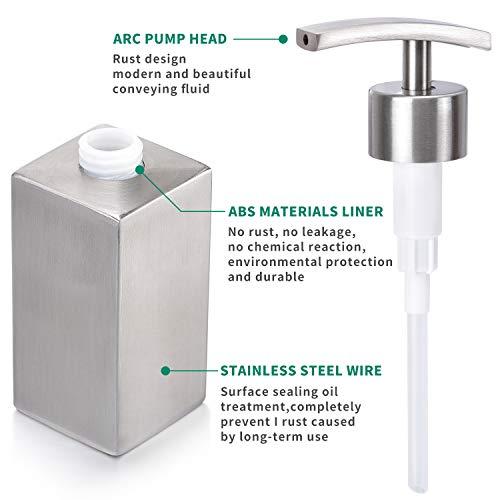 ZeMooon Dish Soap Dispenser for Kitchen - Stainless Steel Hand Liquid Soap Dispenser Pump Bottle for Kitchen or Bathroom Counter Rust Leak Proof (10 Oz/300ML)