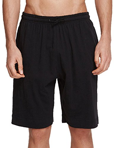 Ubon Men's Summer Soft Lounge Sports Shorts Loose Pajama Bottoms(Black,US XL)