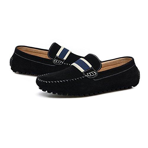 Negro Darkgray 39 EU con Cordones Hombres de Cuero tamaño Comfort Genuino Xiazhi shoes conducción de Mocasines Color Penny de los Mocasines aRz8FqH