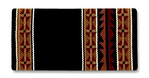 Black Buckskin - Mayatex Mojave Saddle Blanket, Black/Buckskin/Tan/Tibetan Red/Tabasco/Cream