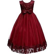Little/Big Girls Embroidered Applique Flower Girl Pageant Dress