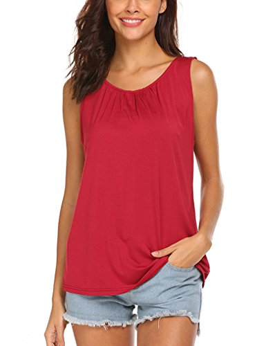 Locryz Women's Summer Sleeveless Tanks Plain Back Button Blouse Tops (XXL, Wine Red)