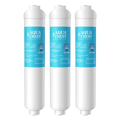 AQUACREST GXRTDR Inline Water Filter, Compatible with GE GXRTDR, Samsung DA29-10105J, Whirlpool WHKF-IMTO, Reduces Chlorine, Fluoride, Limescale and More, For Refrigerator, IceMaker, RVs (Pack of 3) (Water Filter Inline Refrigerator)